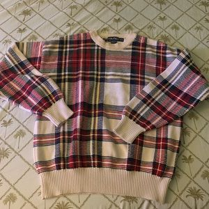 Nautica cream and plaid cotton vintage sweater